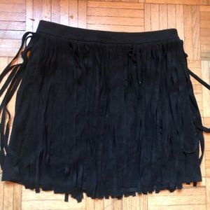 Bb Dakota Faux Suede Fringe Mini Skirt